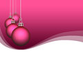 Pink satin christmas ornaments ball hanging on background with waves or curves Royalty Free Stock Images