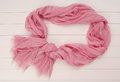 Pink scarf tippet is on show case silk and cotton it Stock Photography