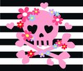 Pink scull flowers and bones with a pattern for fashion industry or other decoration Stock Photography