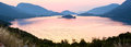 Pink sea sunset panorama (Croatia). Royalty Free Stock Image