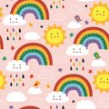 Pink seamless pattern with cute rainbow cloud bird and sun