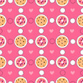 Pink seamless pattern with food stickers.
