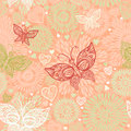 Pink seamless pattern with lacy butterflies flowers and hearts Stock Photos