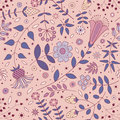 Pink seamless pattern of ornamental flowers, plants, leaves and small circles.