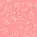 Pink seamless pattern with umbrellas and hearts Royalty Free Stock Images