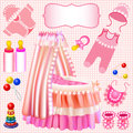 Pink set of children s cradle beanbag booties sliders illustration a Royalty Free Stock Photography
