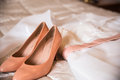 The pink shoes of the bride Royalty Free Stock Photo