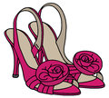 Pink shoes on high heel