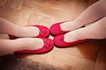 Pink shoes of two little sisters Royalty Free Stock Image
