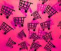 Pink Shopping Cart Background Stock Image