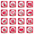 Pink shopping icons set Royalty Free Stock Photos