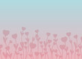 Pink silhouette hearts on stems with leaves on pink and blue gr