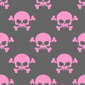 Pink skull on a grey background seamless pattern. Head of  skele Royalty Free Stock Photo