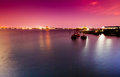 Pink sky sea port Royalty Free Stock Photo
