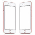 Pink smartphone mockup slightly rotated both sides Royalty Free Stock Photo