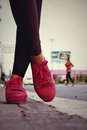 Pink sneakers accessories and wearable sneakers Royalty Free Stock Photo