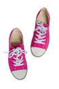 Pink sneakers isolated on white background Royalty Free Stock Photo