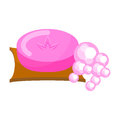 Pink soap with foam bubbles vector.