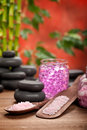 Pink Spa - bath salt and stones Stock Photo