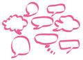 Pink speech bubbles set of in various shapes Stock Photos