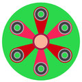 Pink spinner with six blades a flat style. Vector image on a round light green background. Element of design, interface
