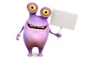 A pink spotted monster holding sign smiling cute charming cartoon blank in his hand white background Royalty Free Stock Photography