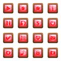 Pink square buttons in wooden frame cartoon vector set Royalty Free Stock Photo