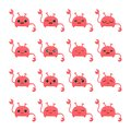 Pink stickers with pink crab on white background.