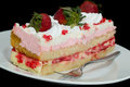 Pink Strawberry Whipped Cream Cake Royalty Free Stock Image