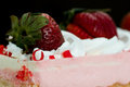 Pink Strawberry Whipped Cream Cake Royalty Free Stock Photo