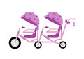 Pink stroller carriage,Vector illustrations Royalty Free Stock Photo