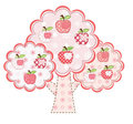 Pink stylized apple tree Stock Photo