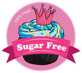 A pink sugar free label illustration of on white background Royalty Free Stock Image