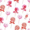 Pink sugarplums seamless vector pattern watercolor Royalty Free Stock Image