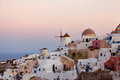 Pink sunrises in Santorini Stock Photography