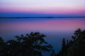 Pink sunset night shot after from omberg echo park just by lake vättern in östergötland county sweden Royalty Free Stock Images