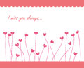 Pink sweet card a i miss you with gem heart plants Royalty Free Stock Image