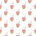 Pink sweet water with lime and lemon. Seamless pattern.