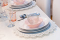 Pink table setting romantic dining Royalty Free Stock Photos