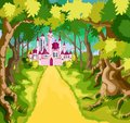 Pink tale castle in green path Royalty Free Stock Photos