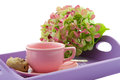 Pink tea cup on purple tray a serving with hydrangea Royalty Free Stock Photography