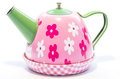 Pink teapot toy on white background isolated Royalty Free Stock Images