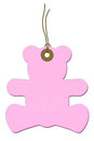 Pink Teddy-bear Baby Shower Gift Tag Royalty Free Stock Image
