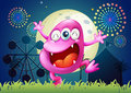 A pink three eyed monster at the carnival illustration of Royalty Free Stock Photography