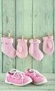 Pink Toddler Shoes On Light Gr...