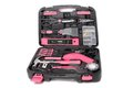 Pink tool set in box feminine toolbox with tools such as hammer power screwdriver scissor plyers electrical tape and other Stock Photography