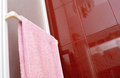 Pink towel in bathroom Stock Photo
