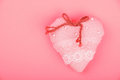 Pink toy textile lace heart with bow with copy space Royalty Free Stock Photo