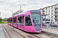 Pink tram in reims modern france Stock Photo
