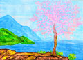 Pink tree on sea coast, painting Stock Image